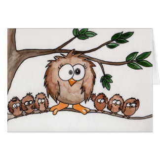 Owl family card