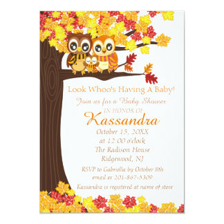 Owl Family In Colourful Tree Baby Shower Card