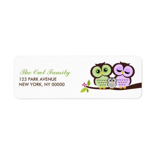 Owl Family Return Address Labels