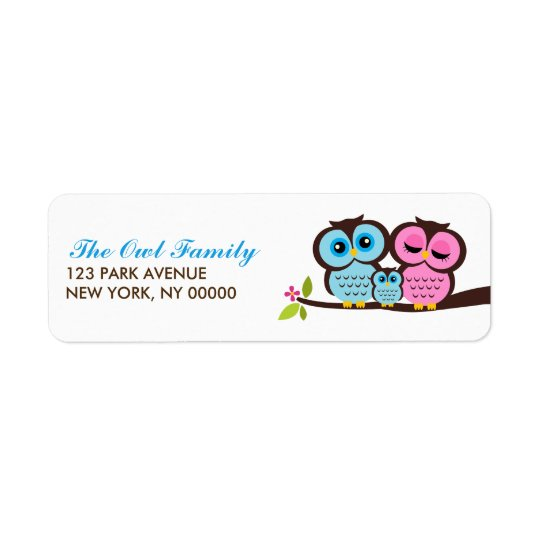 Owl Family Return Address Labels