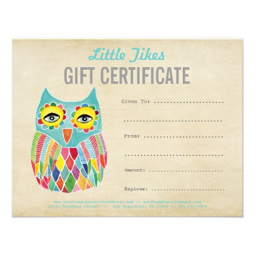 Owl Fashion Business Gift Certificate Template Custom Invites