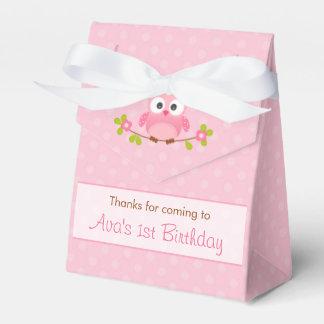 Owl Favor Box (Birthday / Baby Shower) - Pink Tent