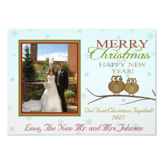 Owl First Christmas Together Card 13 Cm X 18 Cm Invitation Card