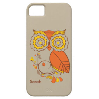 Owl & Flower design, orange brwon yellow. iPhone 5 iPhone 5 Covers