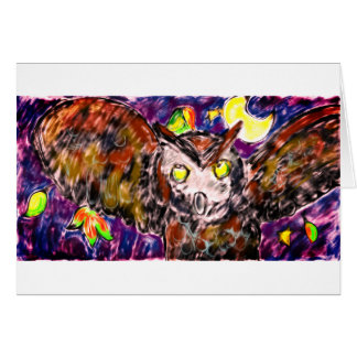 Owl flying art card