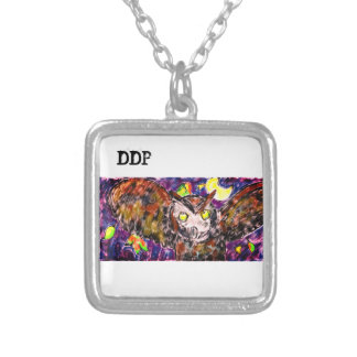 owl flying art silver plated necklace