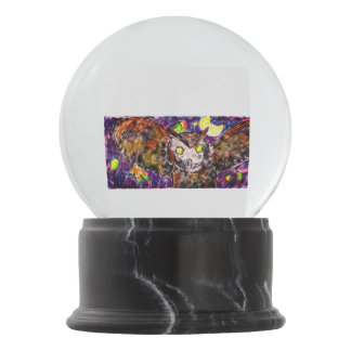 Owl flying art snow globe