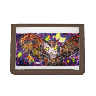 owl flying art trifold wallets