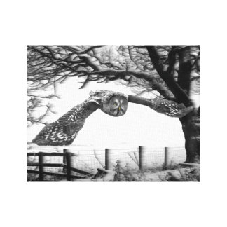 Owl flying in the snow canvas print