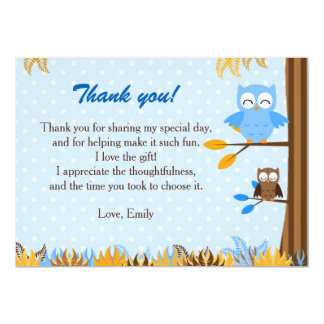 Owl Forest Blue Brown Thank You Card Note 13 Cm X 18 Cm Invitation Card