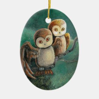 Owl Friends Owl Art Ceramic Oval Decoration