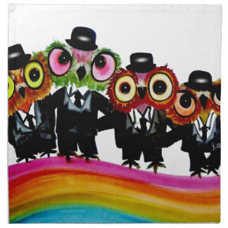 Owl friends rainbow art napkin