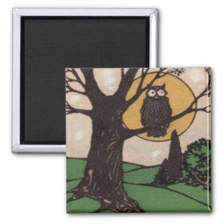 Owl Full Moon Tree Night Square Magnet
