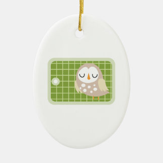 Owl Gift Tag Ceramic Oval Decoration