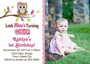 Owl 1st Birthday Invitations Zazzle Com Au