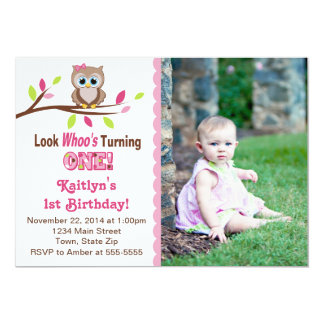 Owl Girl 1st Birthday Invitation 5x7 Photo Card