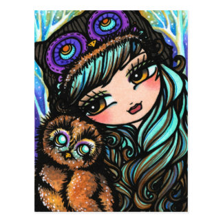 Owl Girl Fairy Fantasy Art Postcard by Hannah Lynn