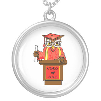 Owl Graduation Class of 2011 Round Pendant Necklace