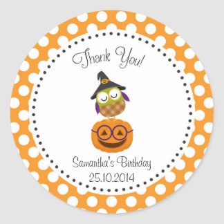Owl Halloween Birthday Thank You Sticker