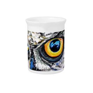 owl hand drawn art illustration pitcher