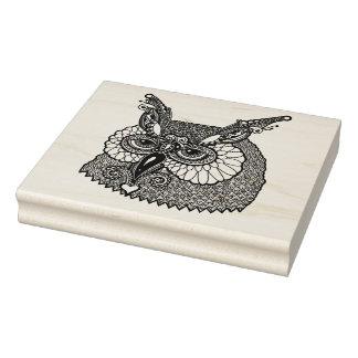 Owl Head Zendoodle Rubber Stamp