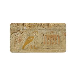 Owl Hieroglyphic Detail, Hatshepsut Temple, Egypt Address Label