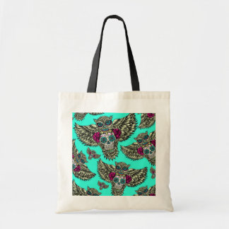 Owl holding sugar skull on mint green base. budget tote bag
