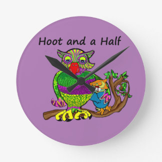 Owl Hoot and a Half Round Clock