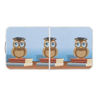 Owl illustration beer pong table