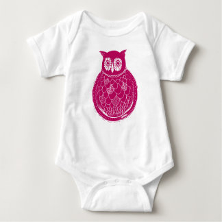 Owl illustration - raspberry baby bodysuit