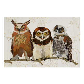 Owl In A Row Art Poster