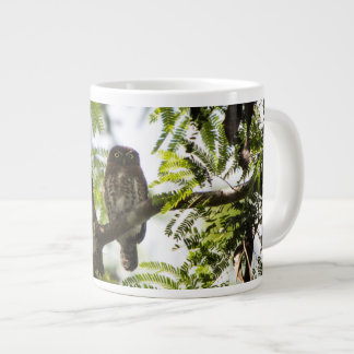 Owl in a tree large coffee mug