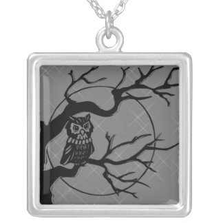 Owl in a Tree Square Pendant Necklace