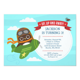 Owl in an Airplane Birthday Party Invitation