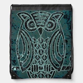Owl in batik style Drawstring Backpack