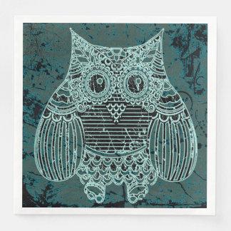 Owl in batik style Standard Dinner Paper Napkins Disposable Serviette