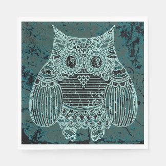 Owl in batik style Standard Luncheon Paper Napkins Paper Napkin