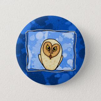 owl in blue 6 cm round badge