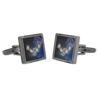 Owl in Flight Gunmetal Finish Cufflinks