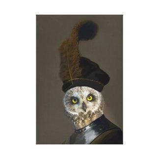 Owl in Military Uniform - Anthropomorphic Art Canvas Print
