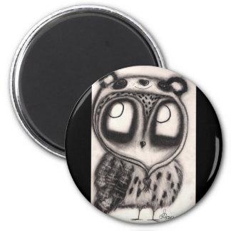 Owl in Panda-Hat 6 Cm Round Magnet