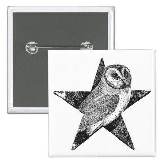 Owl in Pentagram Pentacle Wicca Pagan 15 Cm Square Badge