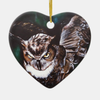 Owl in the night ceramic heart decoration