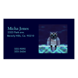 Owl In The Night Gingham Business Cards
