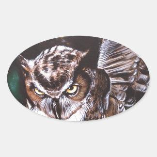 Owl in the night oval sticker