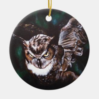 Owl in the night round ceramic decoration