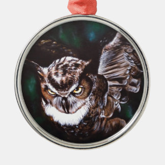 Owl in the night Silver-Colored round decoration