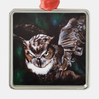 Owl in the night Silver-Colored square decoration
