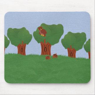 Owl in the Oak Tree Sunburst Design Mouse Pads