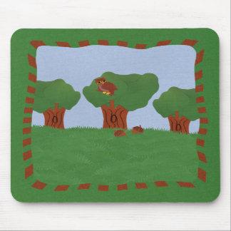 Owl in the Oak Tree Sunburst Design Mousepad